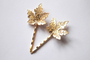 Gold Maple Leaf Hair clips