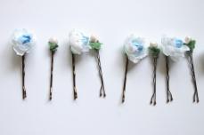 Blue cottage rose pins