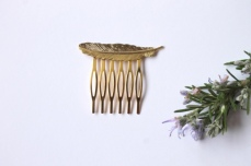 Gold feather hair comb